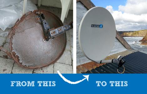 Rusty satellite dish - fibreglass satellite dish